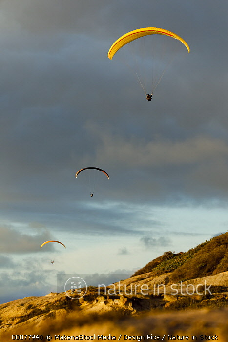 USA, California, Paragliders Flying Over Coast